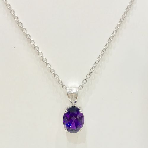 Oval purple Amethyst White Gold Necklace